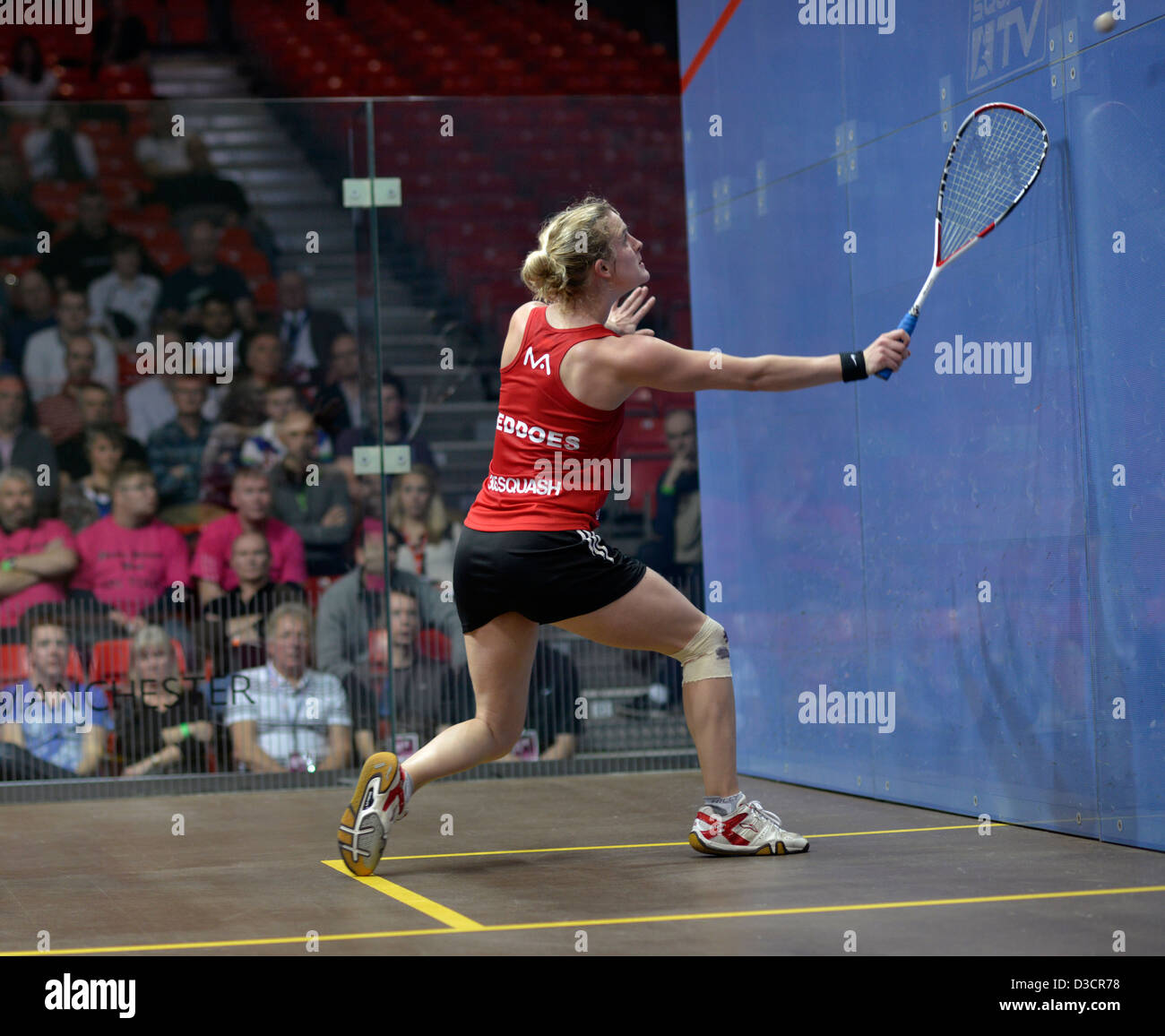 emma beddoes plays a backhand return during her quarter-final match against laura massaro at sportcity, manchester - Stock Image