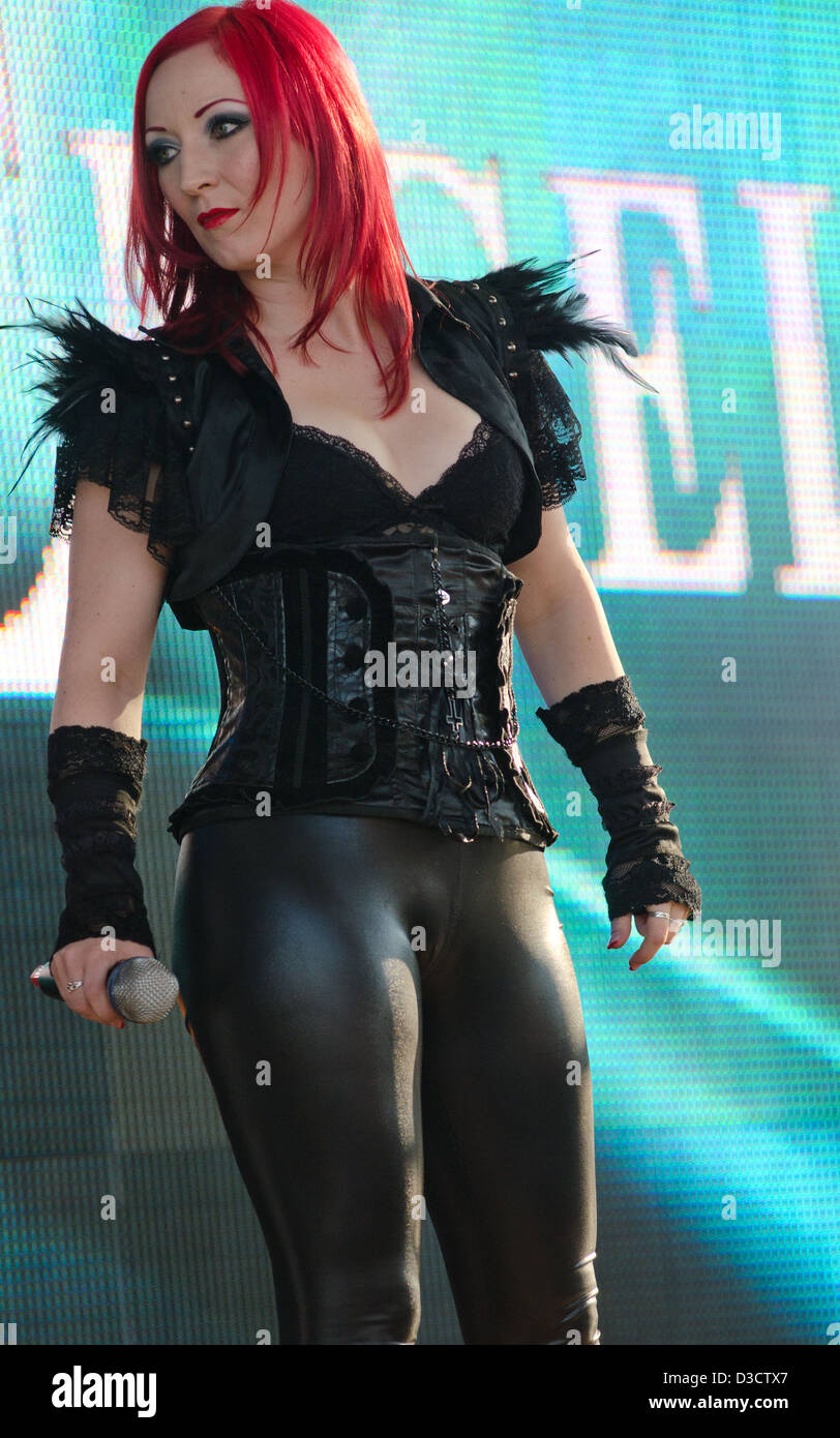 Ulrike Goldmann of the German goth band Blutengel performing at the Amphi Festival in 2012 - Stock Image