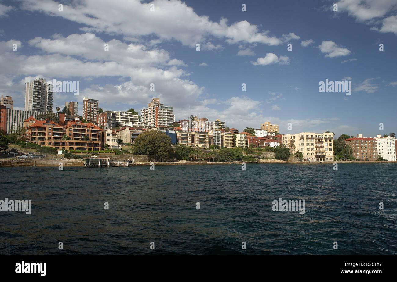 Sydney, Australia, the suburb of Kirribilli seen from a Hafenfaehre - Stock Image
