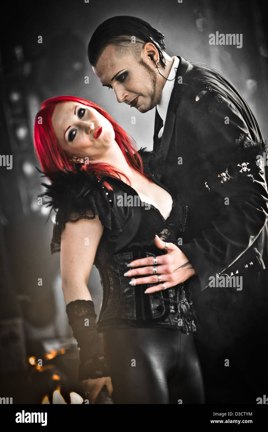 Chris Pohl and Ulrike Goldmann of the German goth band Blutengel performing at the Amphi Festival in 2012 - Stock Image