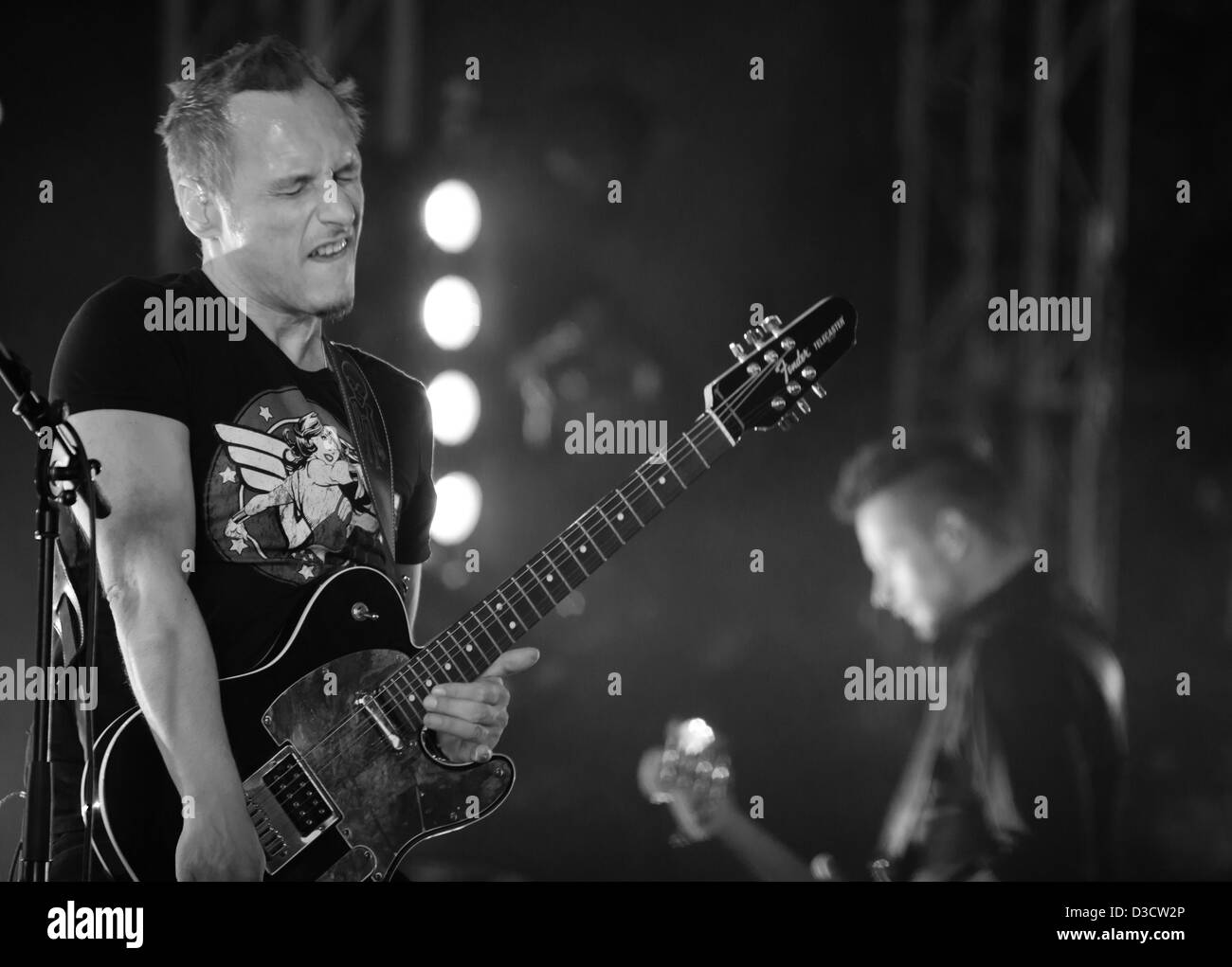 Pix Noel of the German gothic rock band Eisbrecher performing at the Amphi Festival in 2012 - Stock Image