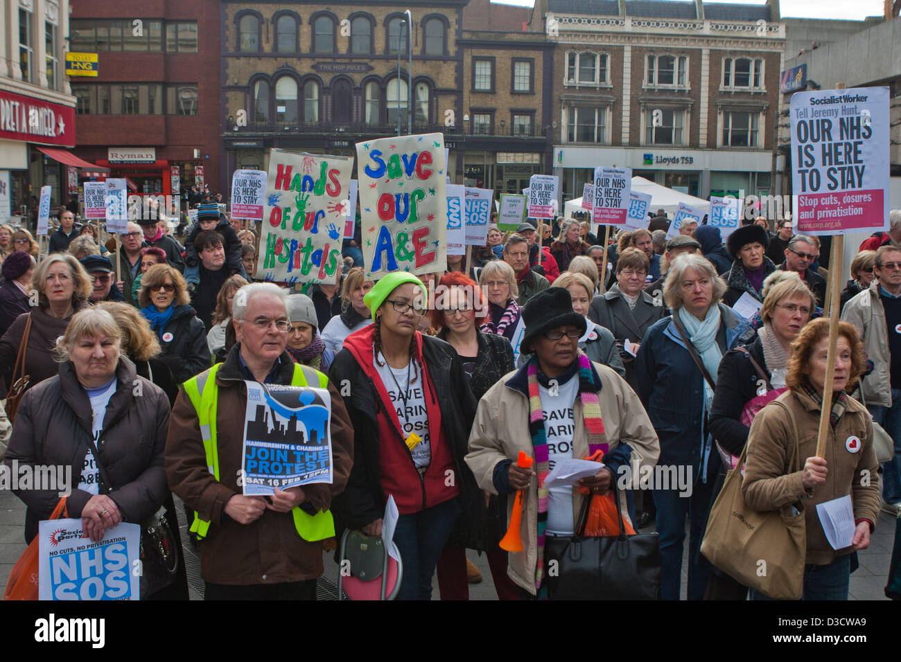 Hammersmith, London, UK. 16th February 2013. Around 200 people attend a rally as NHS announce closure of A&E - Stock Image