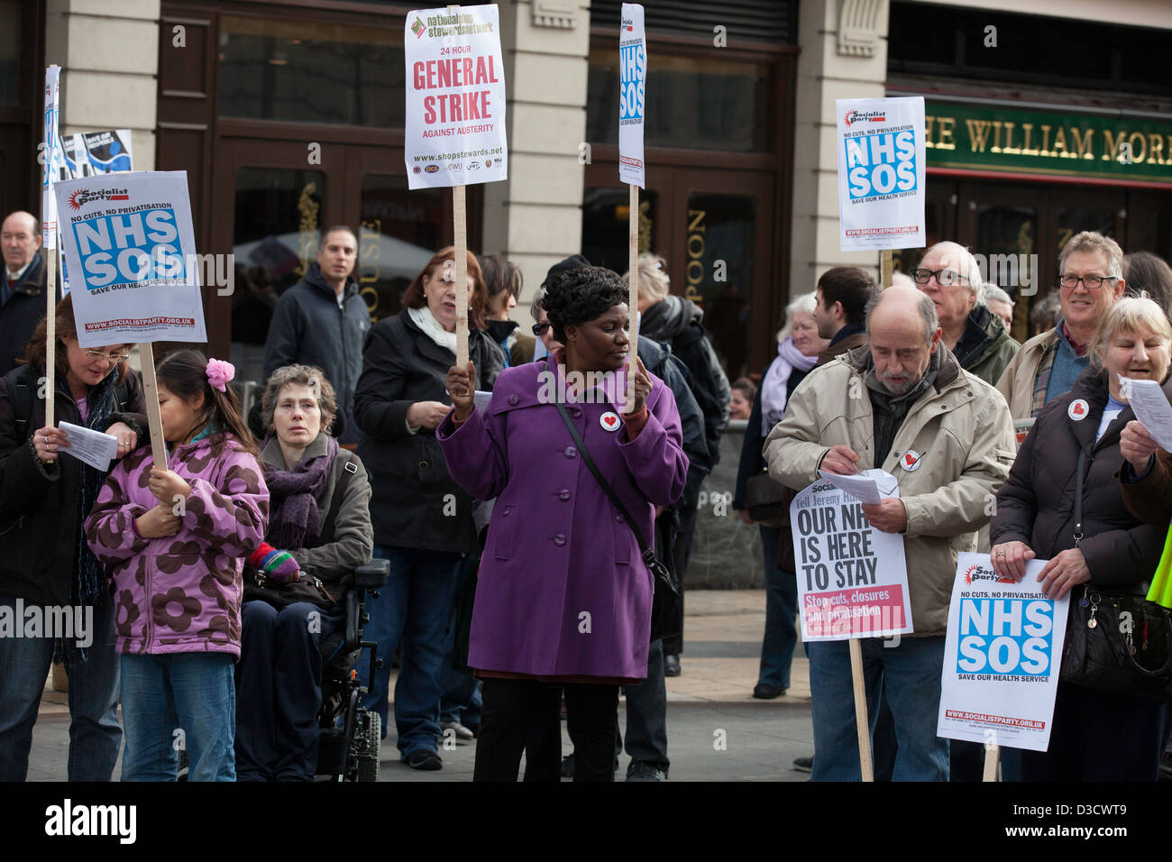 during the protest against cuts and hospital closures. London 16/02/12 Hammersmith - Stock Image