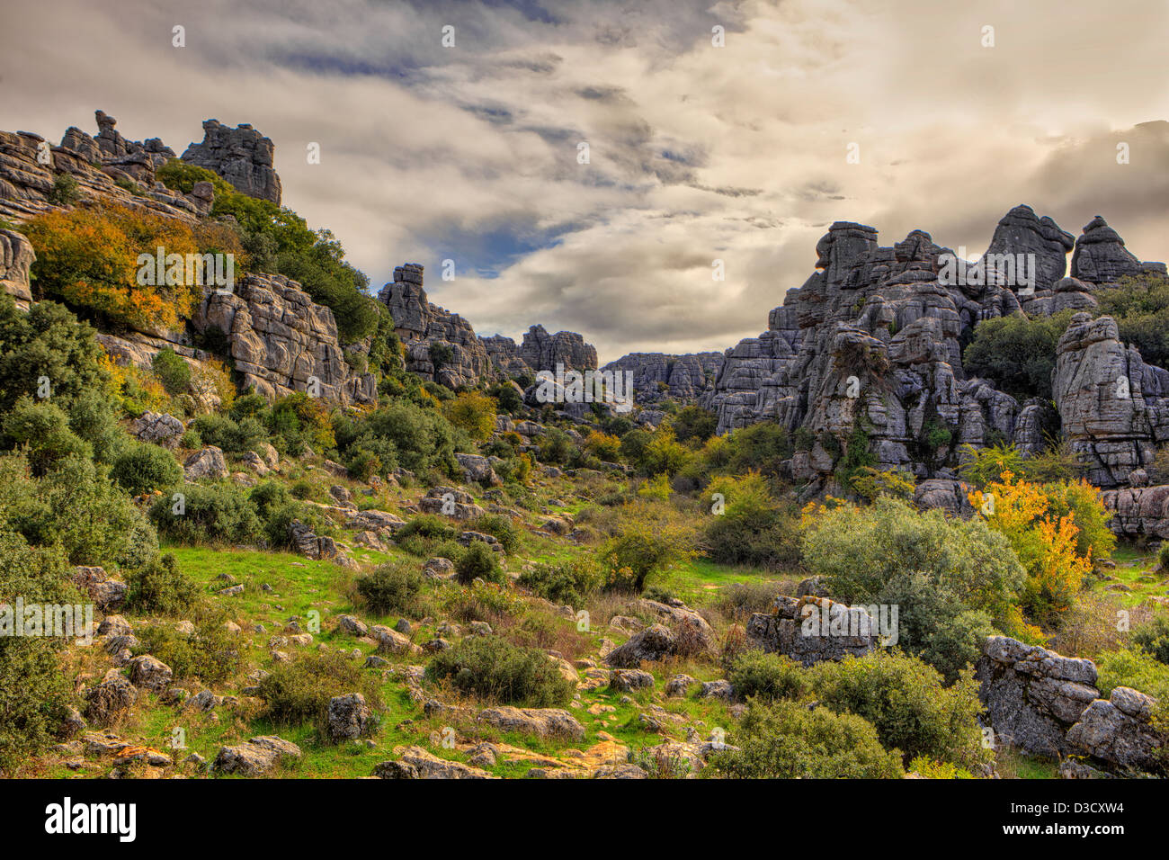 Rock formations  in the Torcal de Antequera, a nature reserve in Malaga, Spain - Stock Image