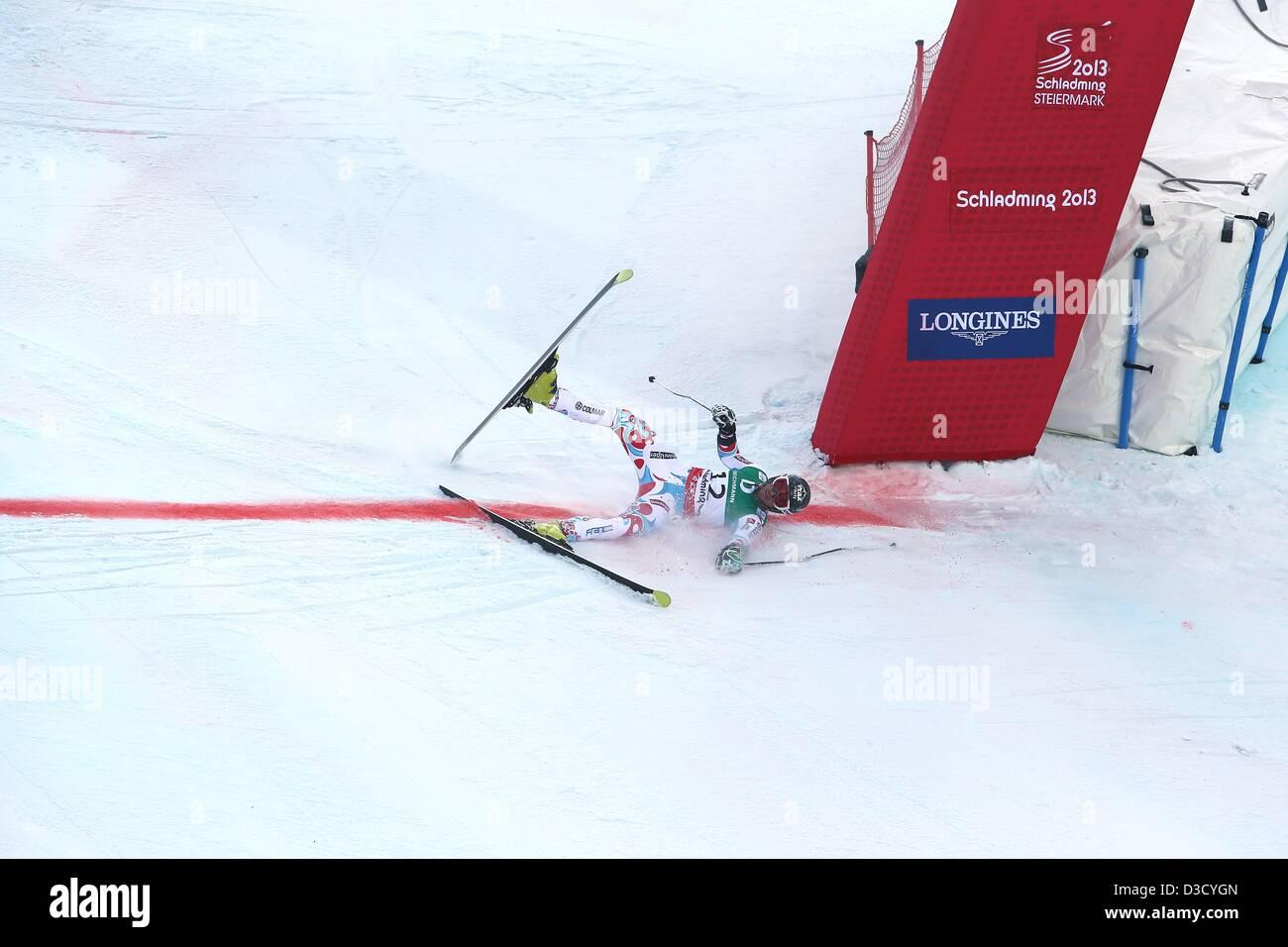 15.02.2013. Schladming, Austria. FIS Alpine Ski World Championships 2013 Giant slalom for men Picture shows Thomas Stock Photo