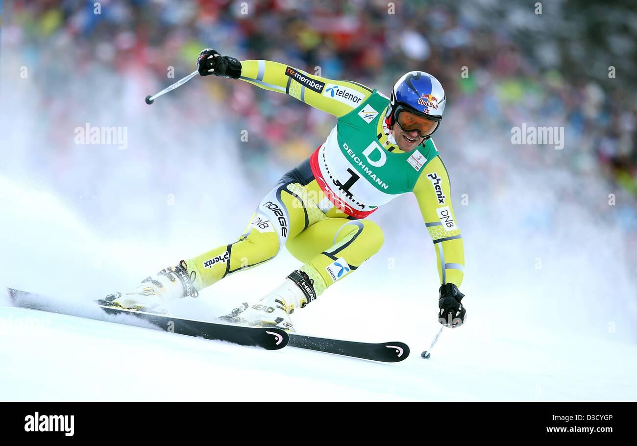15.02.2013. Schladming, Austria. FIS Alpine Ski World Championships 2013 Giant slalom for men Picture shows Aksel Stock Photo
