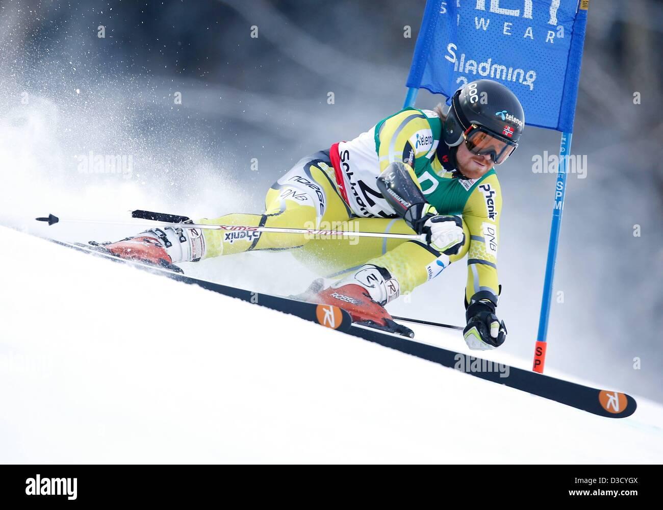 15.02.2013. Schladming, Austria. FIS Alpine Ski World Championships 2013 Giant slalom for men Picture shows Leif Stock Photo