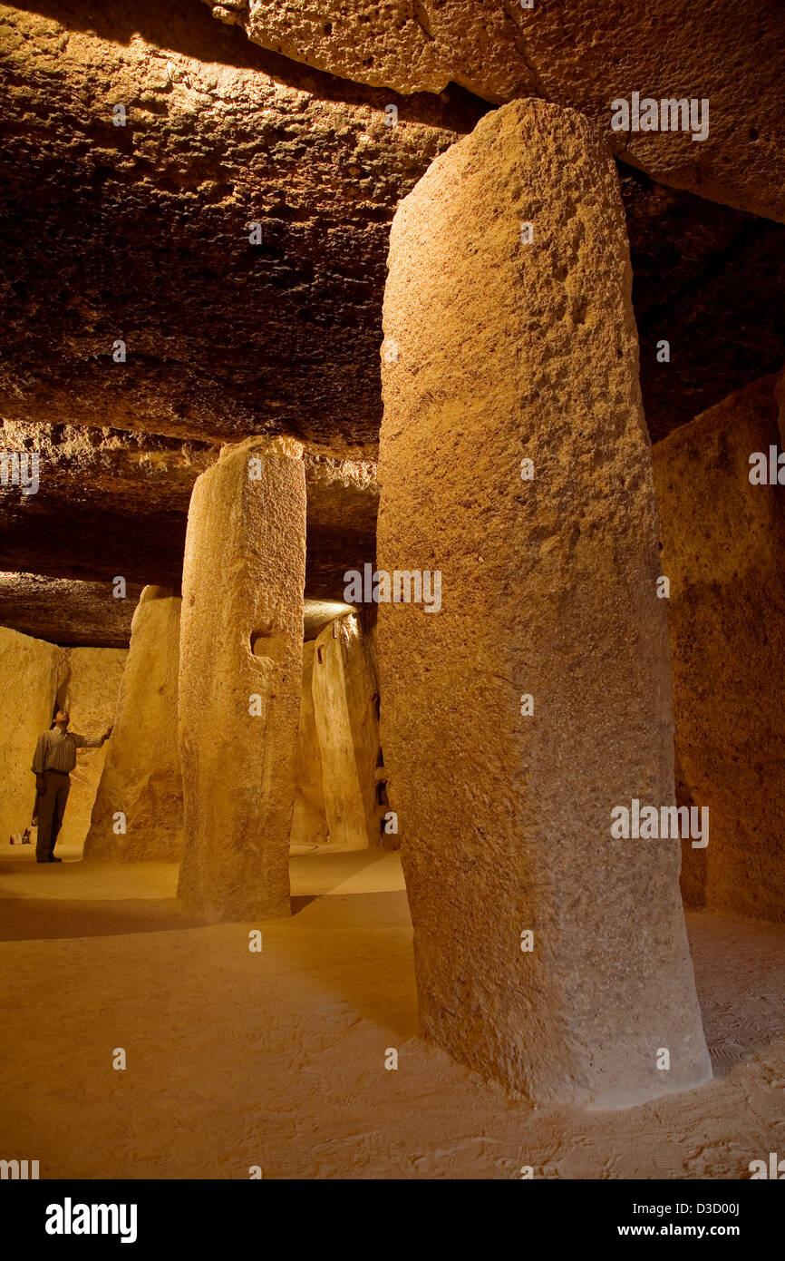 Dolmen Megalithic dolmens Menga Cave Antequera Malaga Andalusia Spain - Stock Image