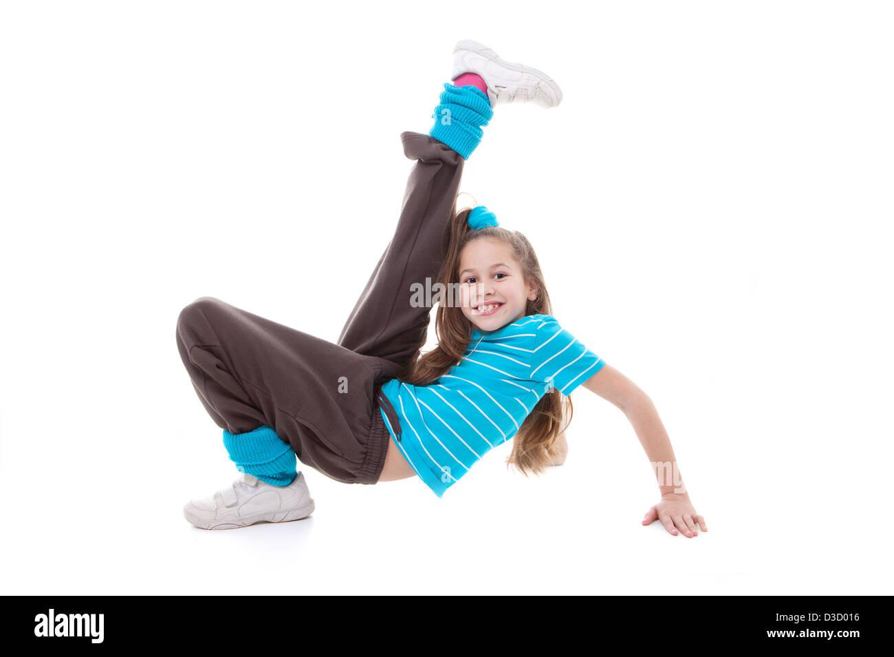 child dancer doing dance exercising - Stock Image