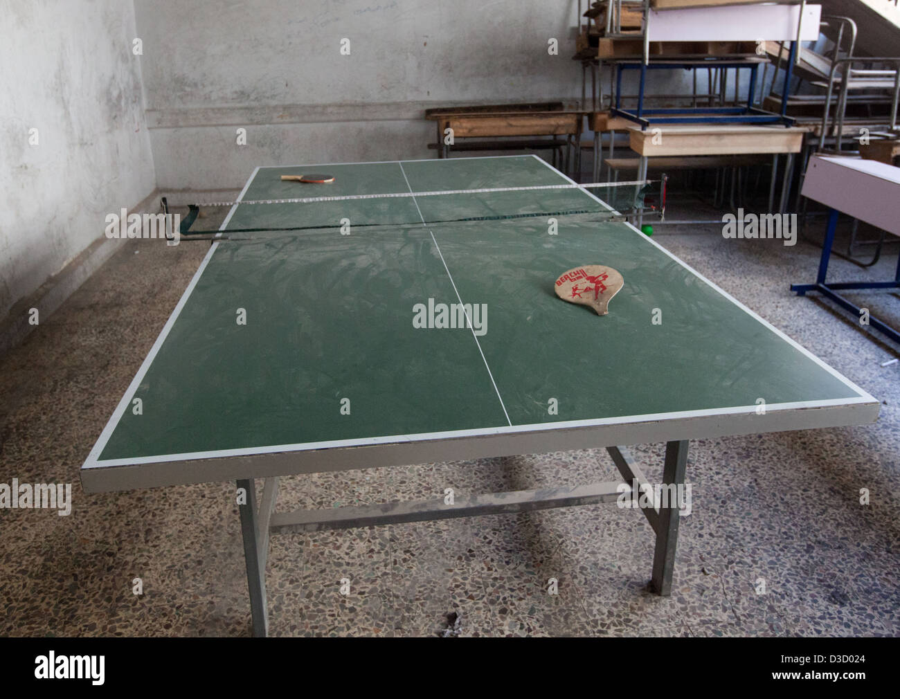 A Ping Pong Table In A Recreation Room At A Free Syrian Army Bomb Making  Factory In Aleppo, Syria On Dec. 2, 2012. Due To The La