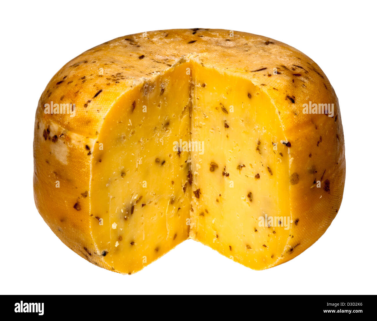 Teifi cheese with cumin cut round, Wales, UK Stock Photo