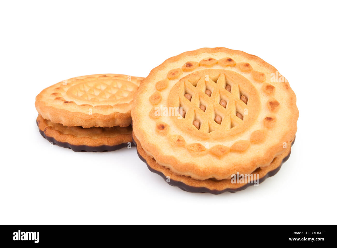 cookie two on white background - Stock Image