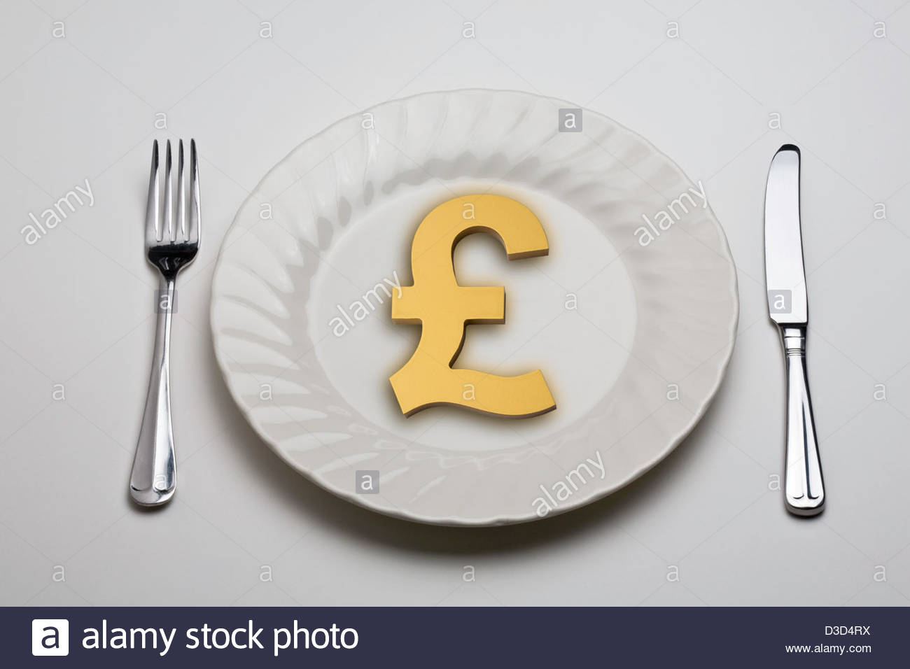 Pound Sterling Symbol On A White Dinner Plate With A Knife And Fork