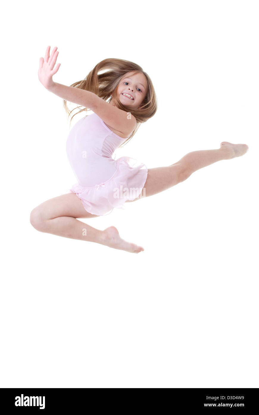 child ballet dancer leap or dance - Stock Image