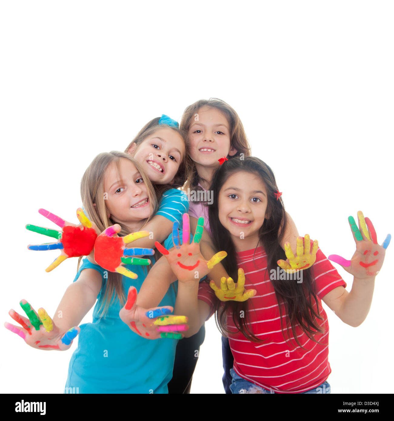 group of happy children having fun with paint - Stock Image
