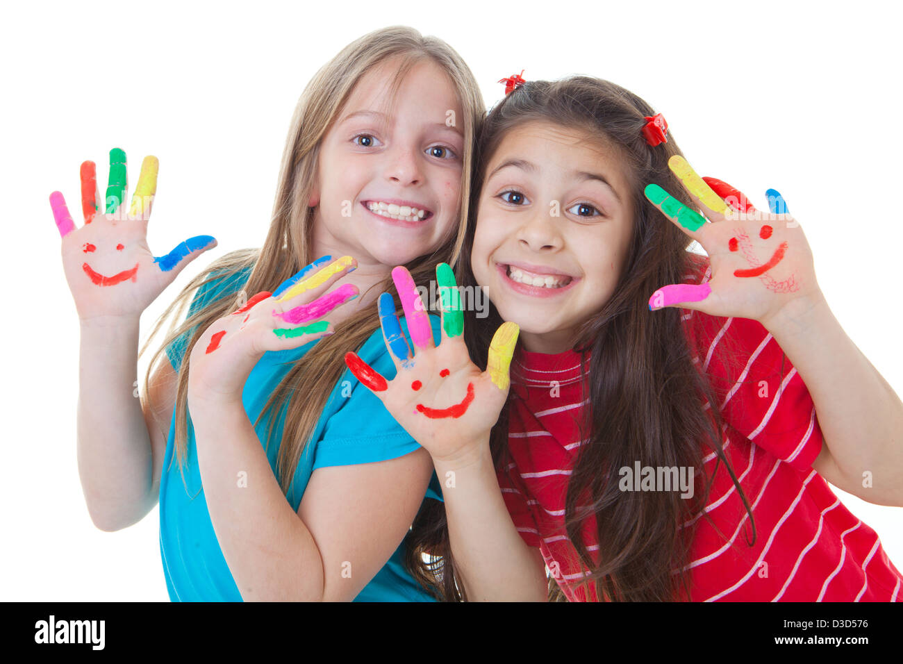 happy kids playing paint with paint - Stock Image