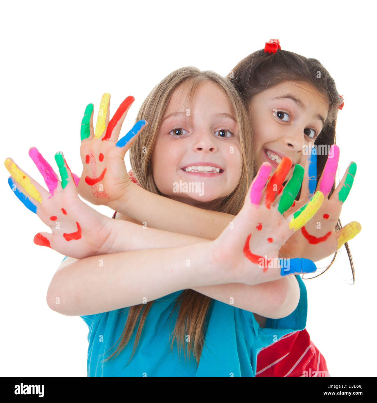 happy smiling children playing with paint - Stock Image