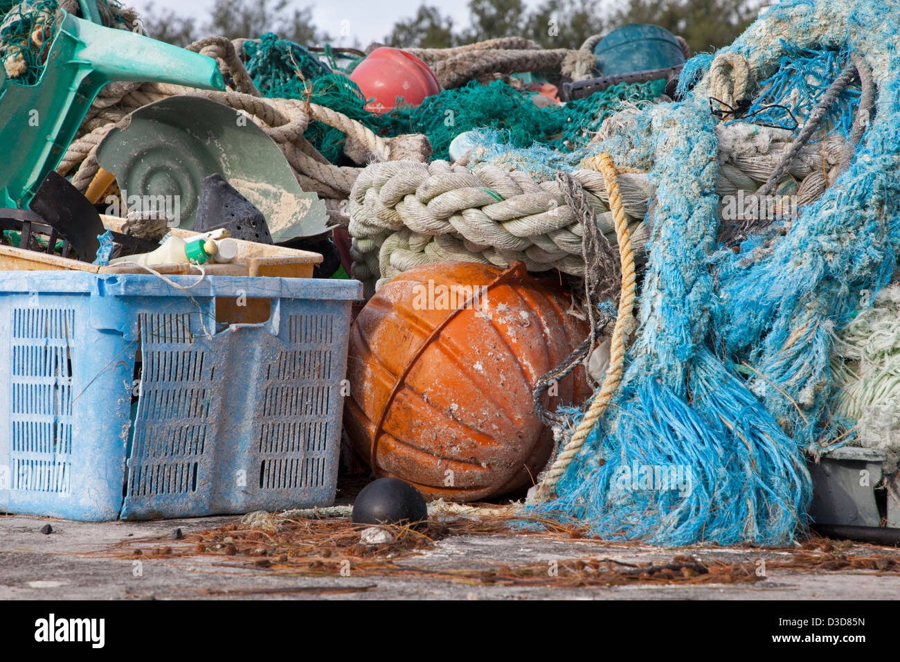 Marine debris brought to Midway Atoll shores by ocean currents then collected to be shipped off island for recycling - Stock Image