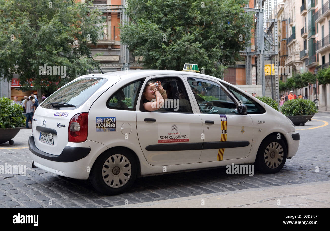 Palma, Majorca, Spain, photographed tourist attractions out of the taxi - Stock Image