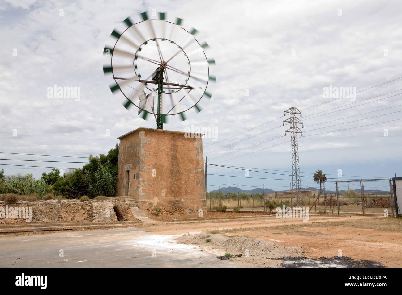 Campos, Mallorca, Spain, a typical Mallorcan Windmill - Stock Image