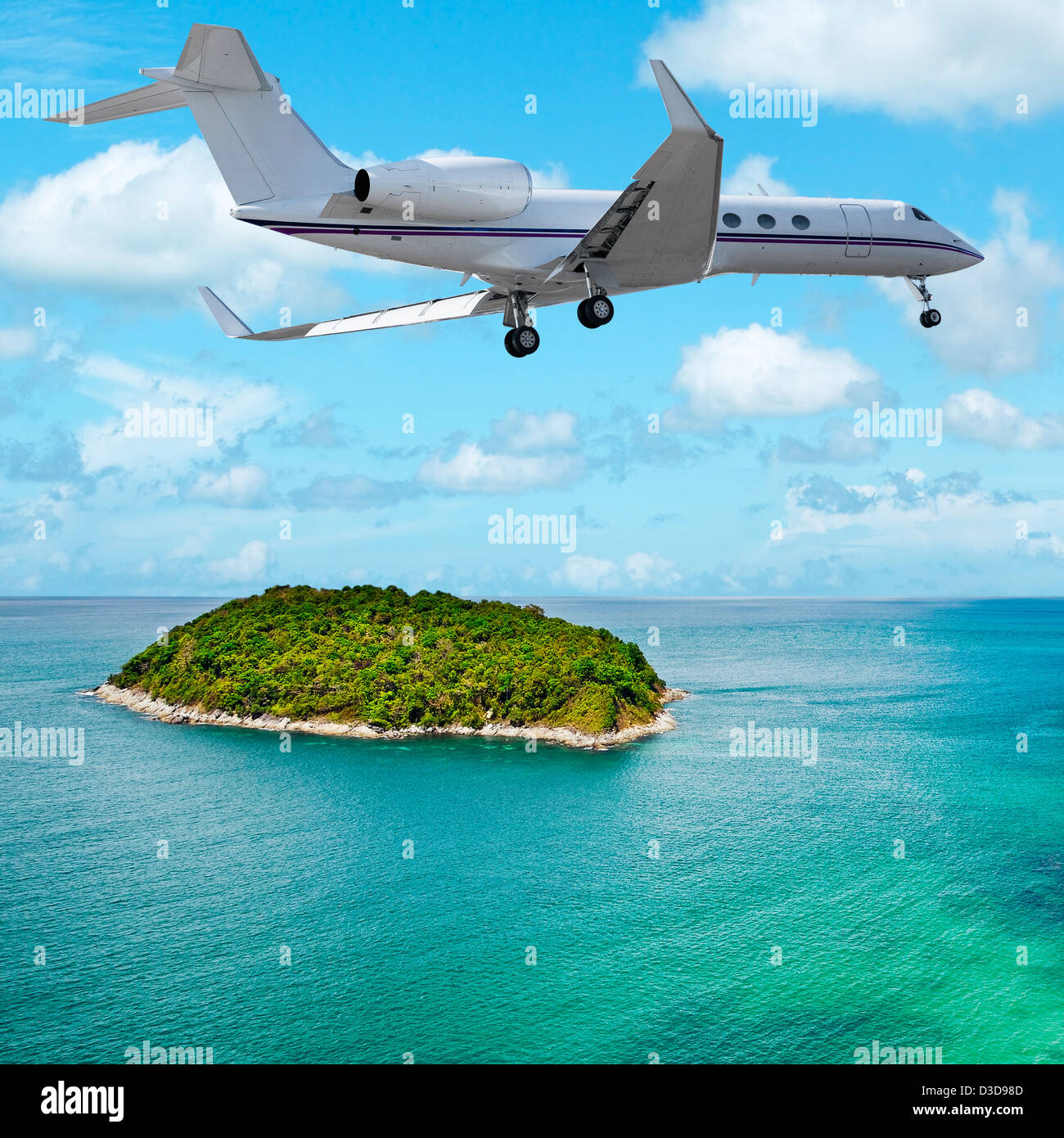 Private jet over the tropical island. Square composition. Stock Photo