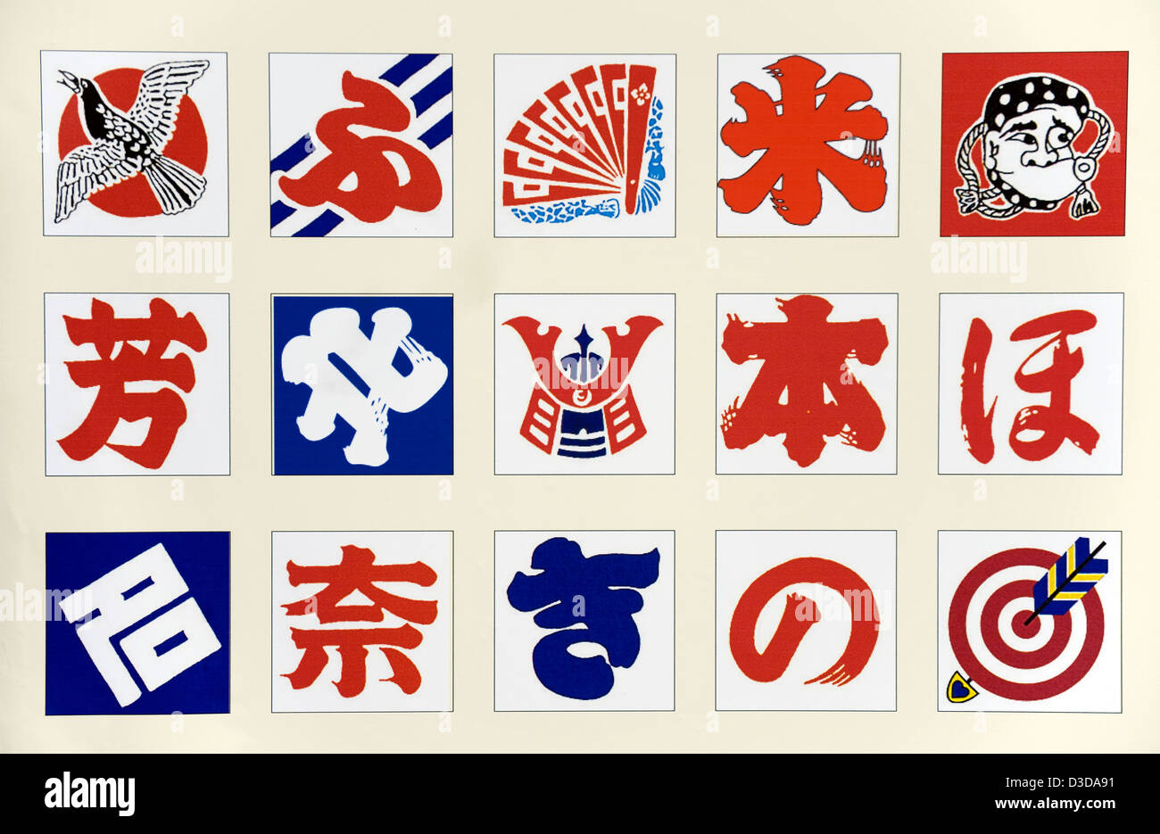 Chart showing small selection of Japanese kite designs appearing at Takoage Gassen, Kite Fighting Festival, in Hamamatsu, - Stock Image
