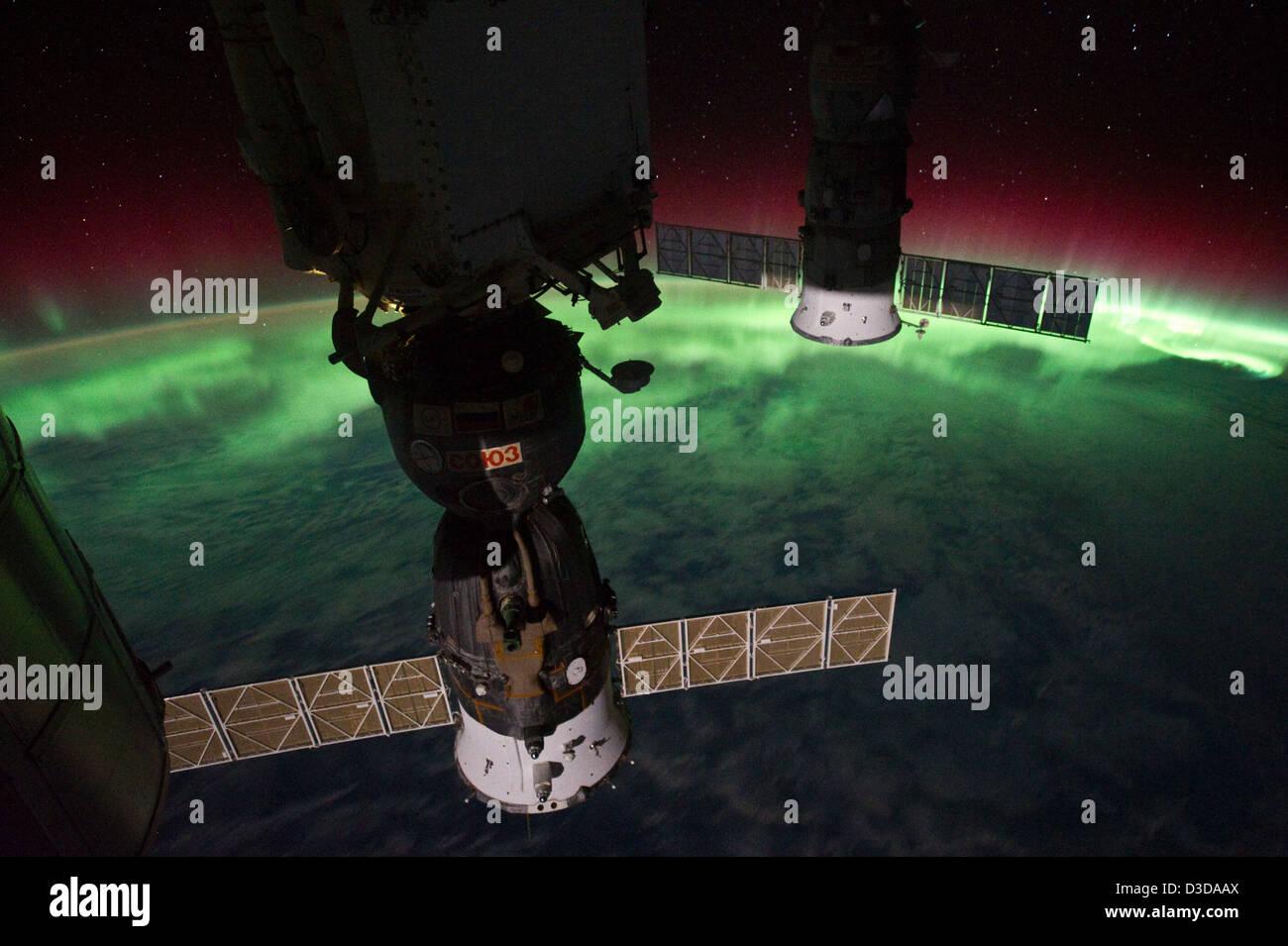 Aurora Australis Over New Zealand, Tasman Sea (NASA, International Space Station, 09/17/11) - Stock Image