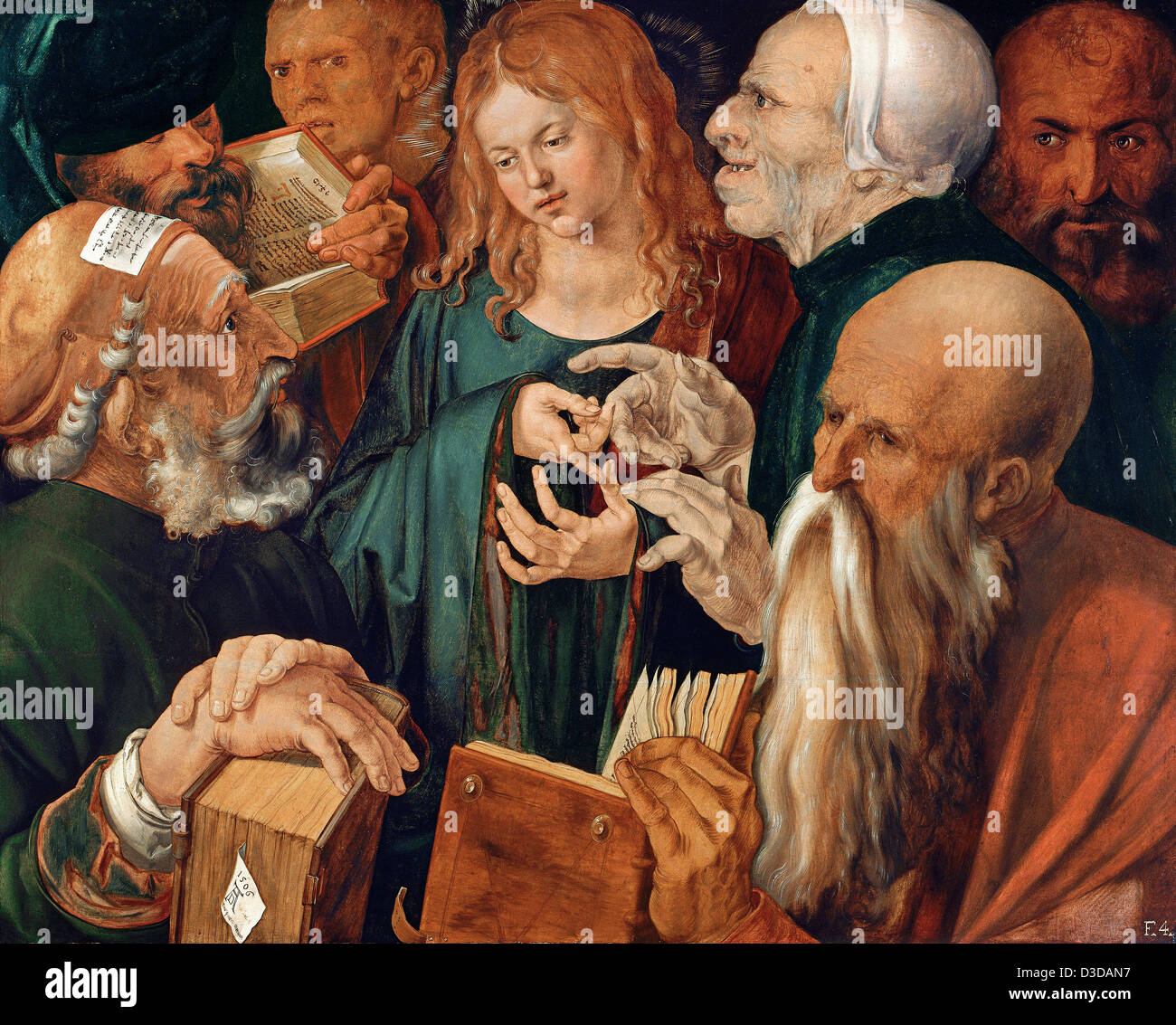 Albrecht Durer, Christ Among the Doctors 1506 Oil on panel. Thyssen-Bornemisza Museum, Madrid - Stock Image