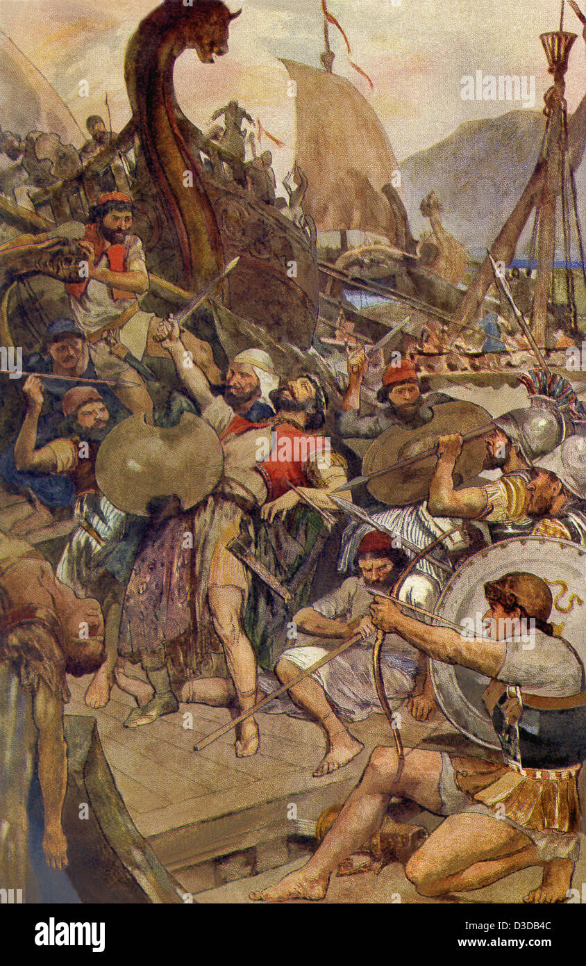 In 480 B.C., the Greek fleet defeated the Persians under Xerxes at Salamis. Pictured here is the death of a Persian - Stock Image