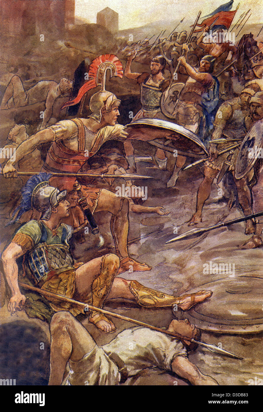 Epaminondas protected Pelopidas from being killed/captured by the enemy at the Battle of Mantinea. - Stock Image