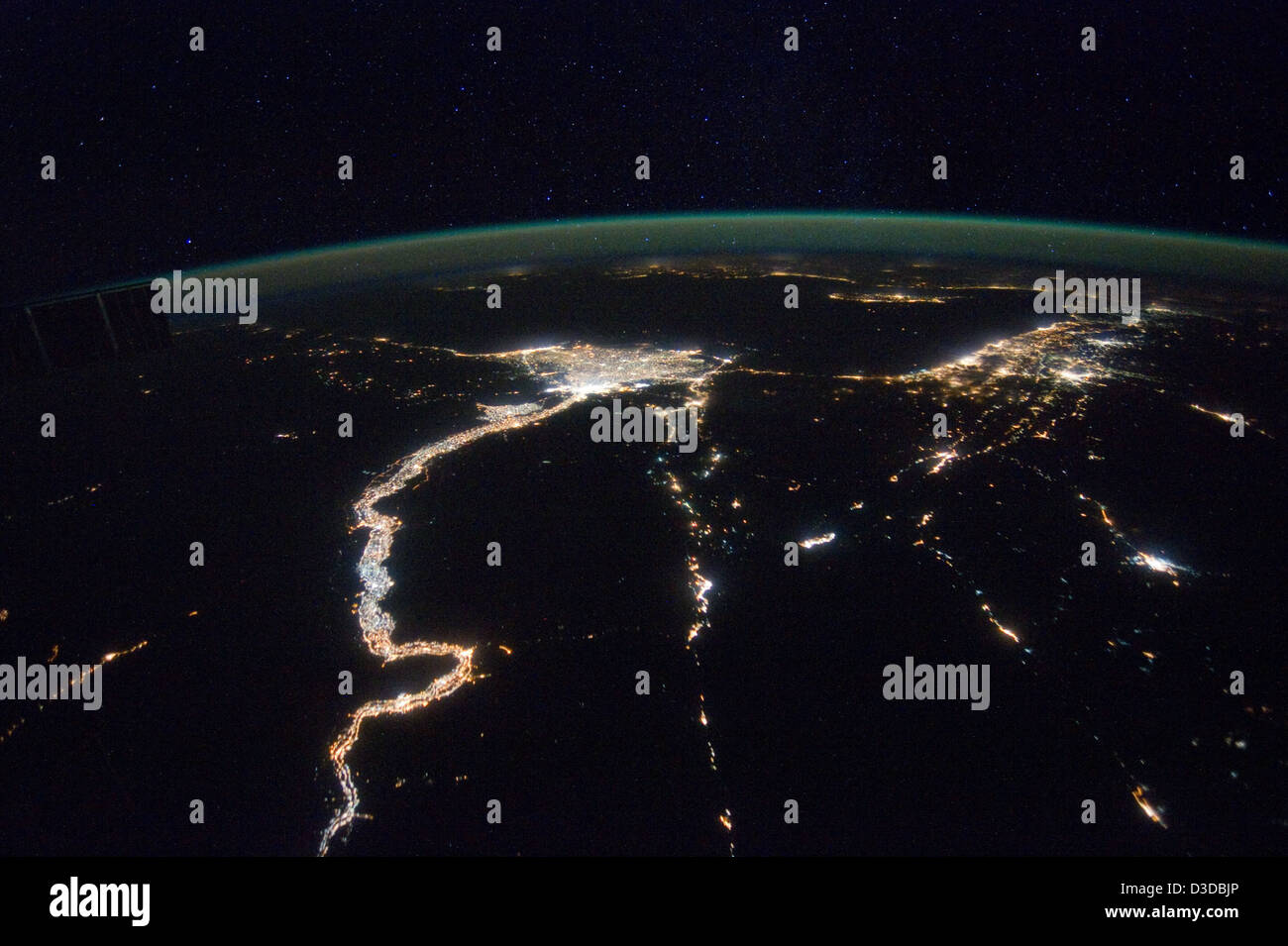 A Night View Around the Mediterranean Sea (NASA, International Space Station, 02/25/12) - Stock Image