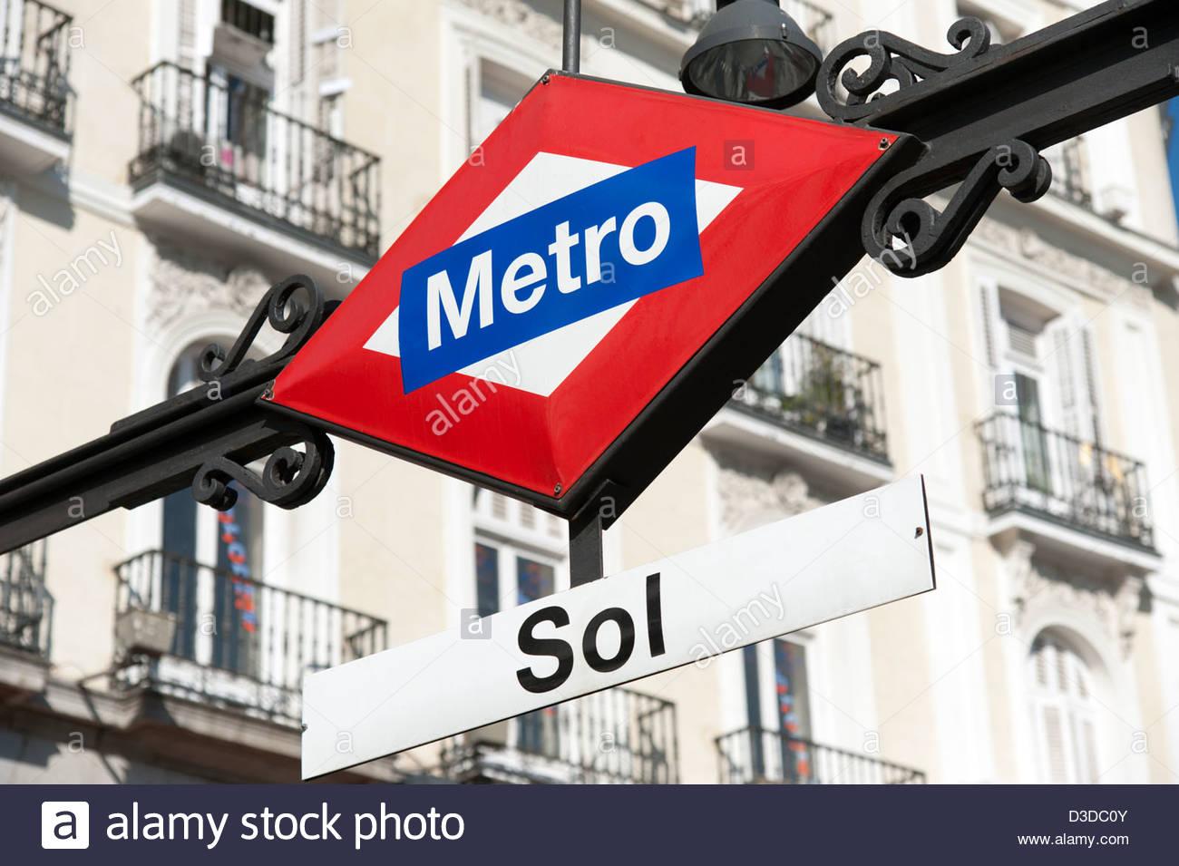 Sol metro station sign, Madrid, Spain - Stock Image