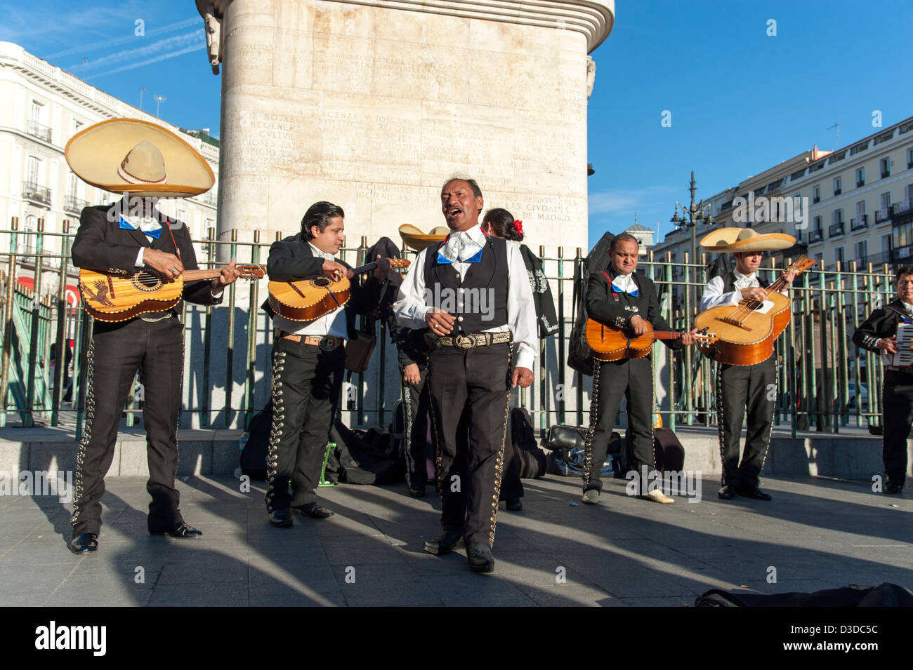 Group of Mexican mariachis playing in the Puerta del Sol, Madrid, Spain - Stock Image