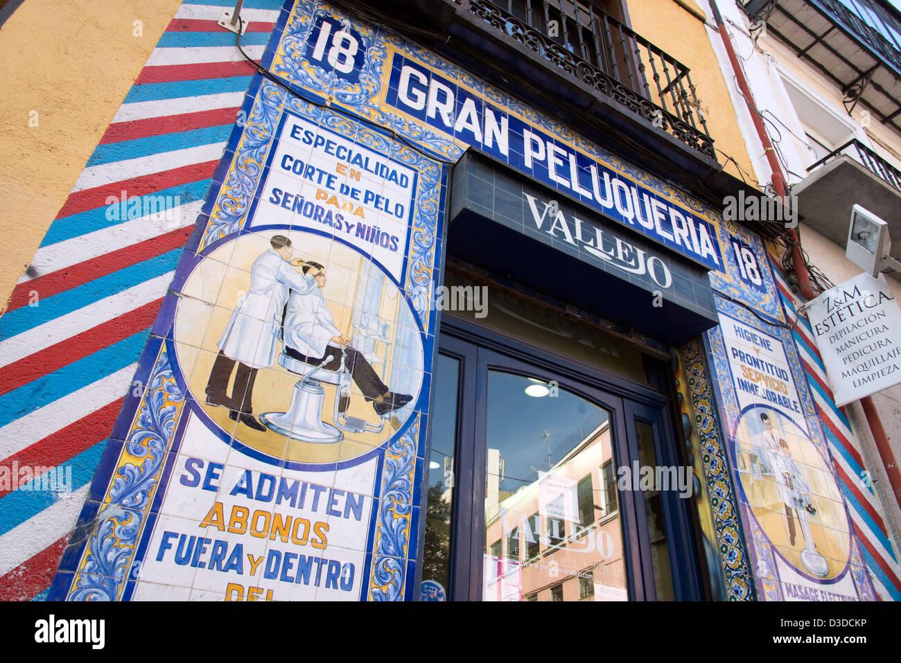 Tiled shopfront of the Gran Peluqueria Vallejo, Madrid, Spain - Stock Image