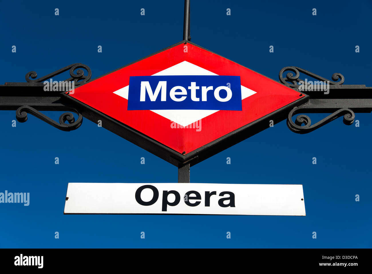 Opera metro station sign, Madrid, Spain - Stock Image