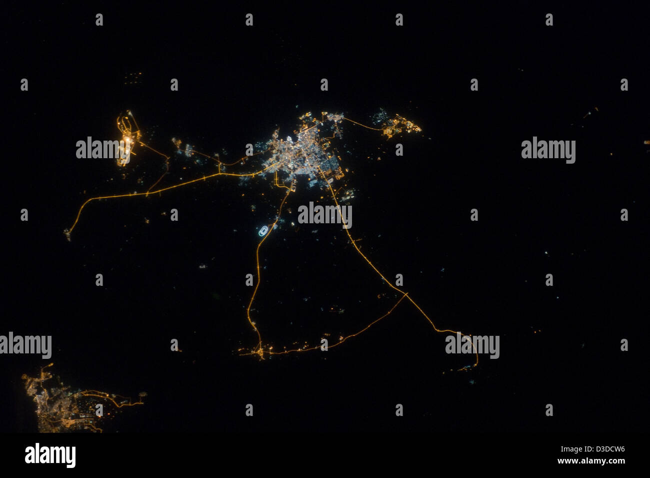 Qatar at Night (NASA, International Space Station, 10/13/12) - Stock Image