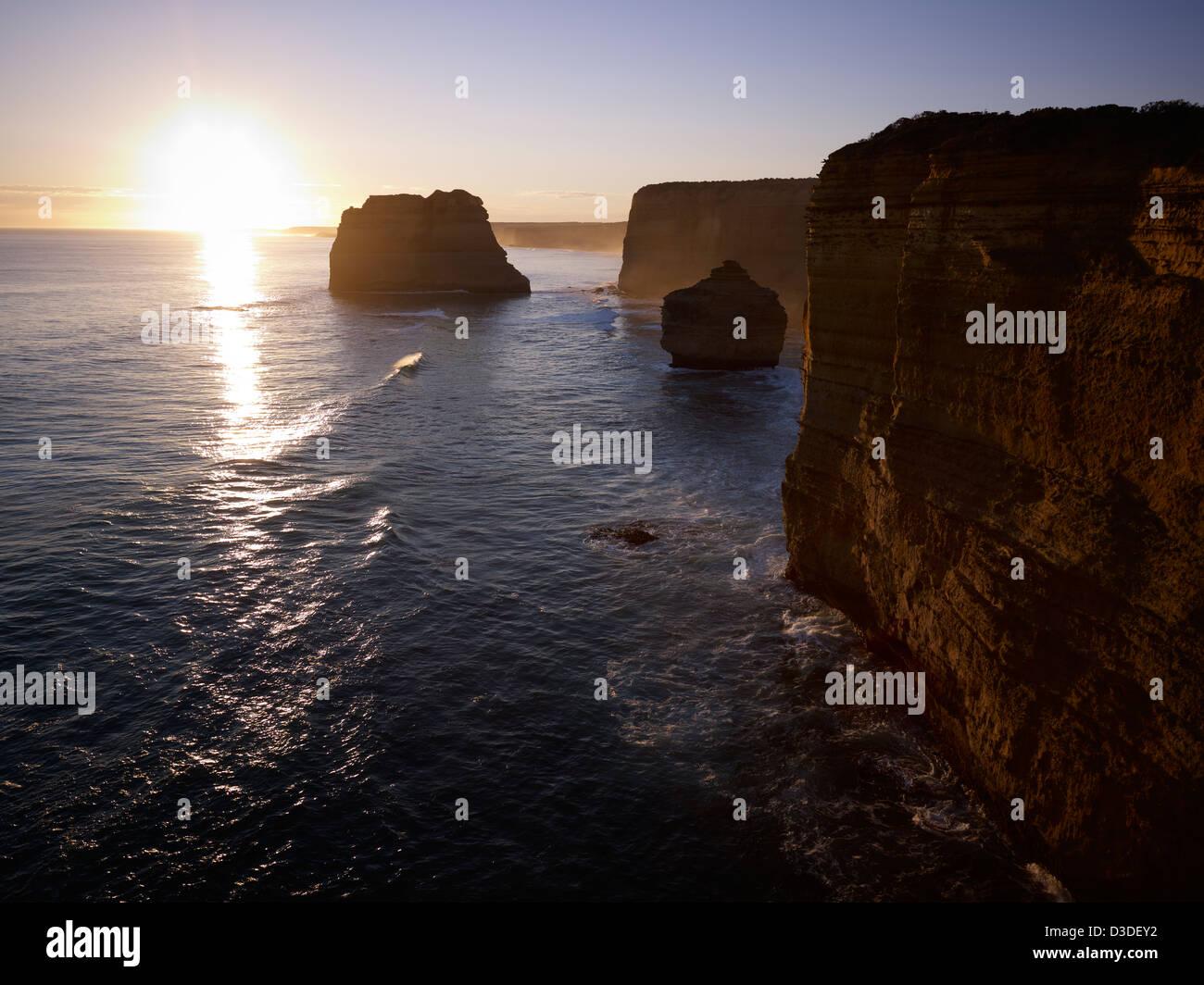 The famous Twelve Apostles on Victoria's Great Ocean Road Australia - Stock Image
