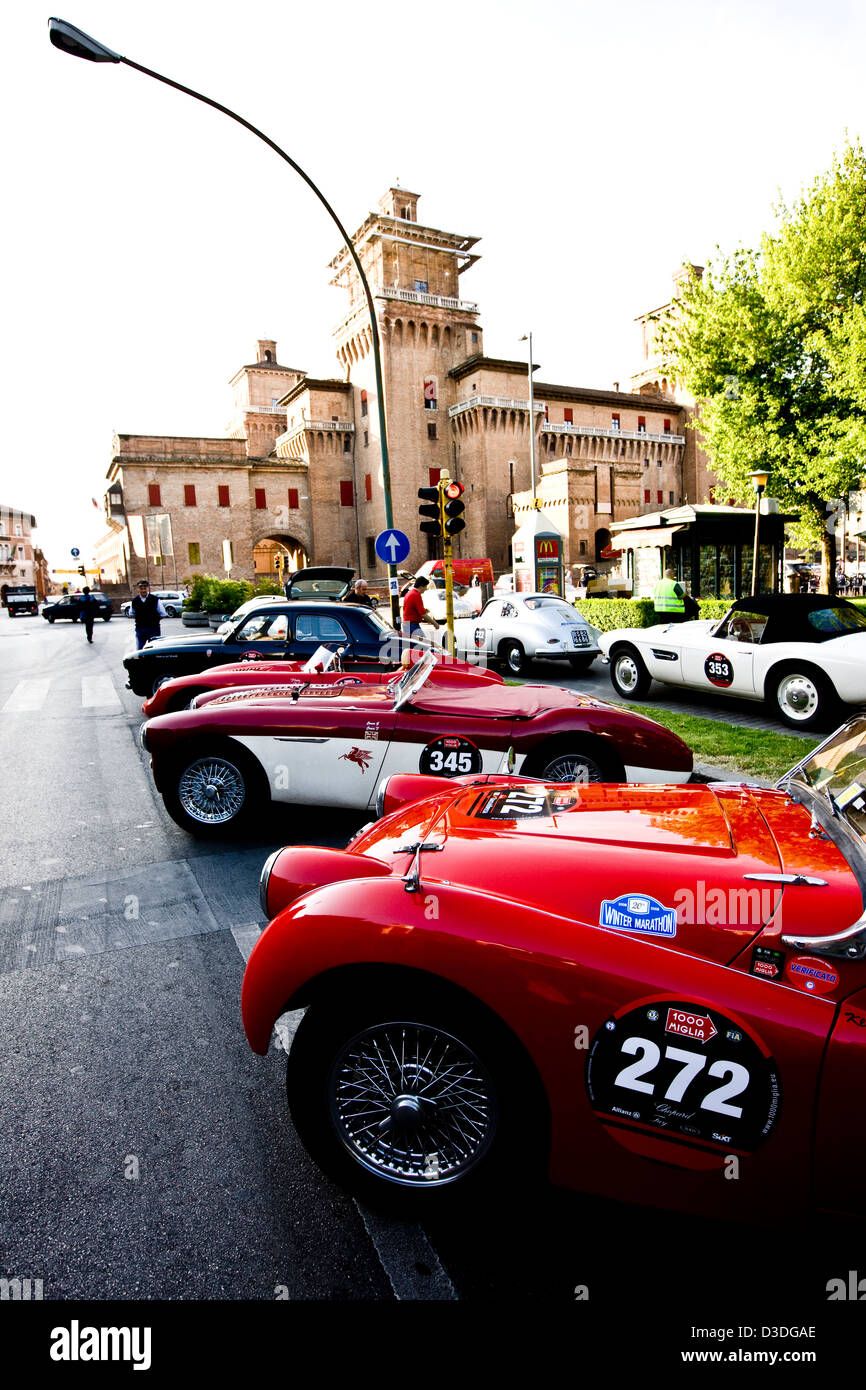 Classic cars parked at roadside, Mille Miglia car race, Italy, 2008 - Stock Image