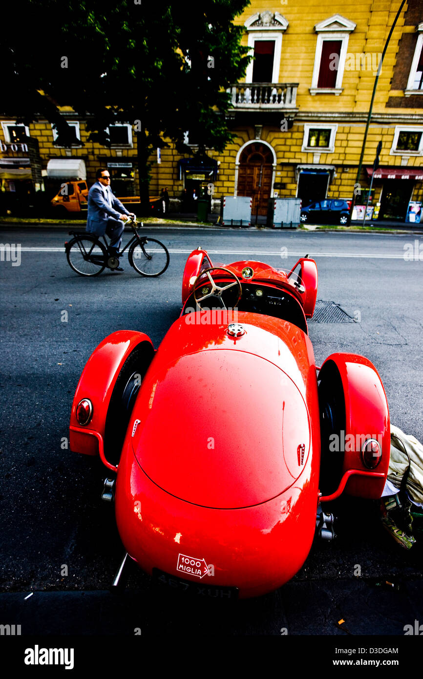 Classic car parked at roadside, Mille Miglia car race, Italy, 2008 - Stock Image