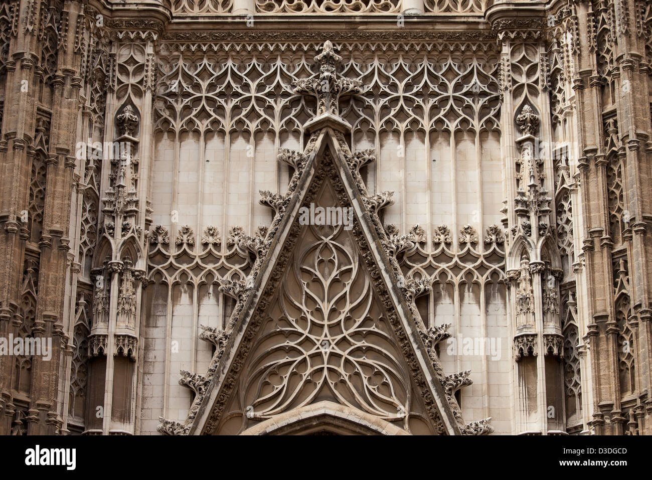 Architectural Details Of The 15 16th Century Gothic Cathedral Seville In Spain Exterior Ornamentation Above Entrance Door