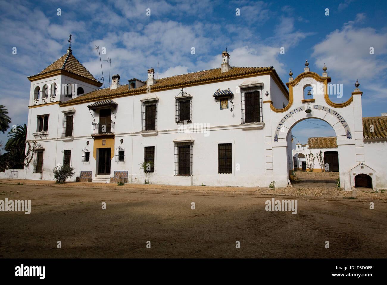 LA RUIZA FINCA, HUELVA, SPAIN, 21st FEBRUAY 2008: The large 19th century mansion of the Prieto de la Cal family Stock Photo