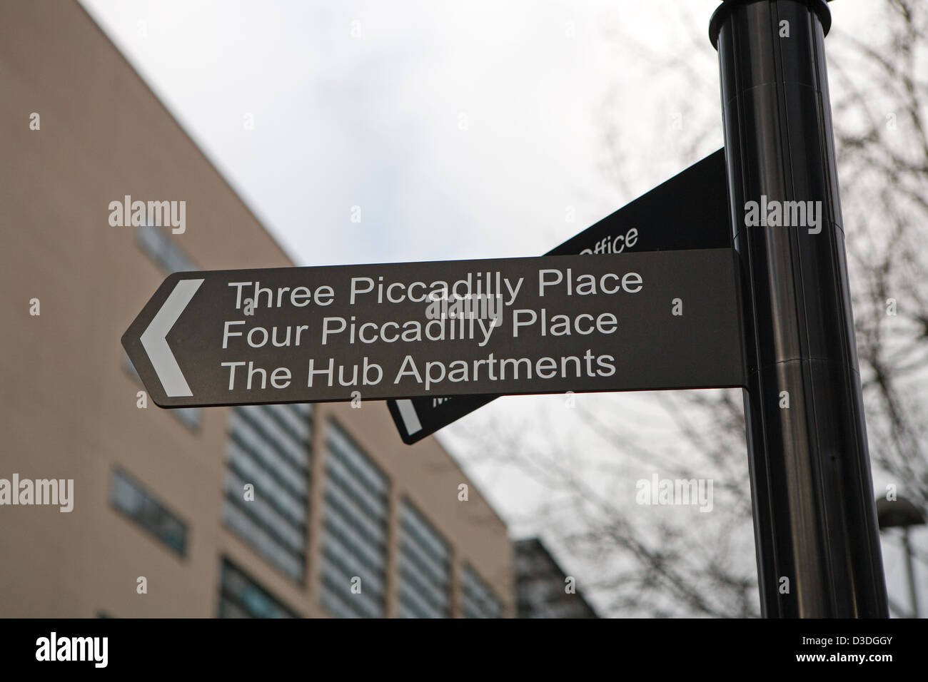 Street sign  in Piccadilly place Manchester England - Stock Image