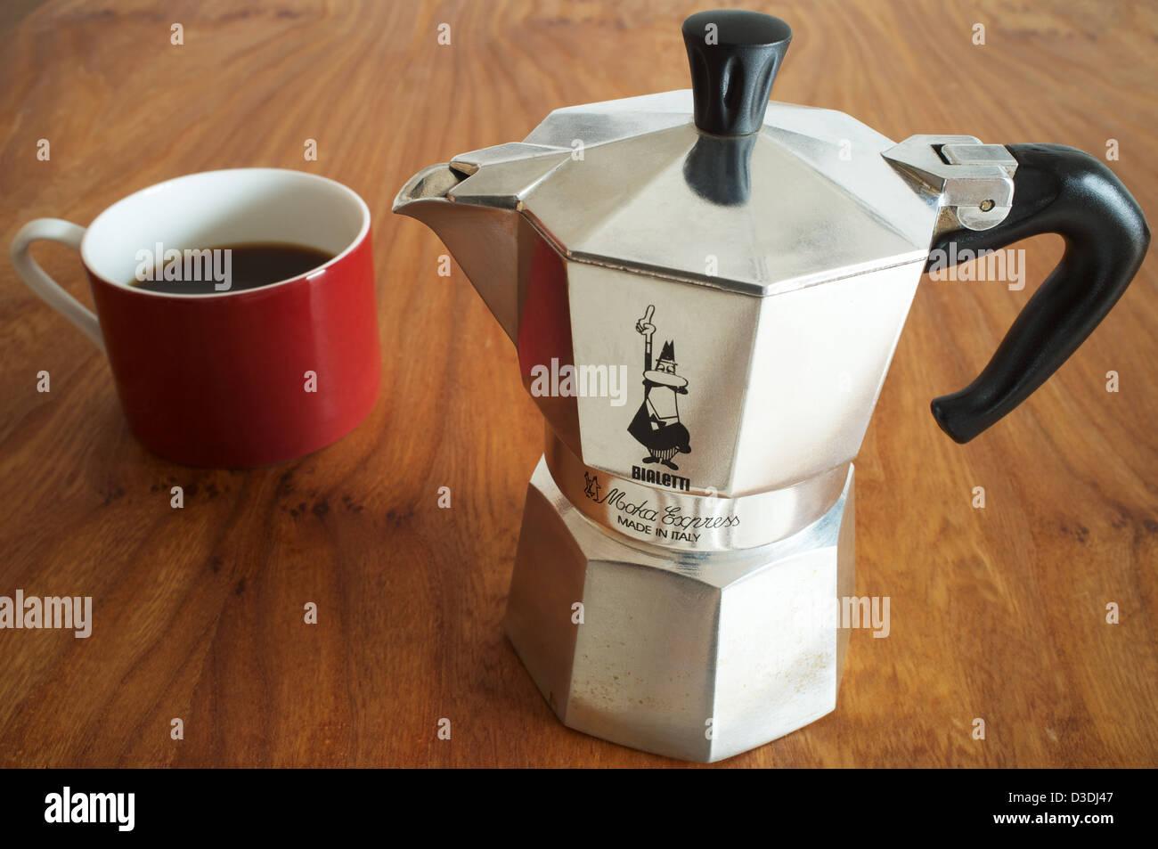 Bialetti moka express Italian coffee pot - Stock Image