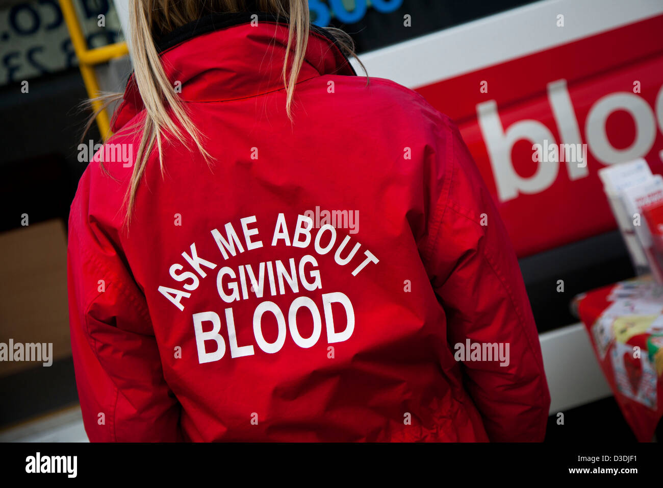 Ask me about giving blood_ Blood Transfusion Campaign in Darlington City Centre, Yorkshire, UK - Stock Image