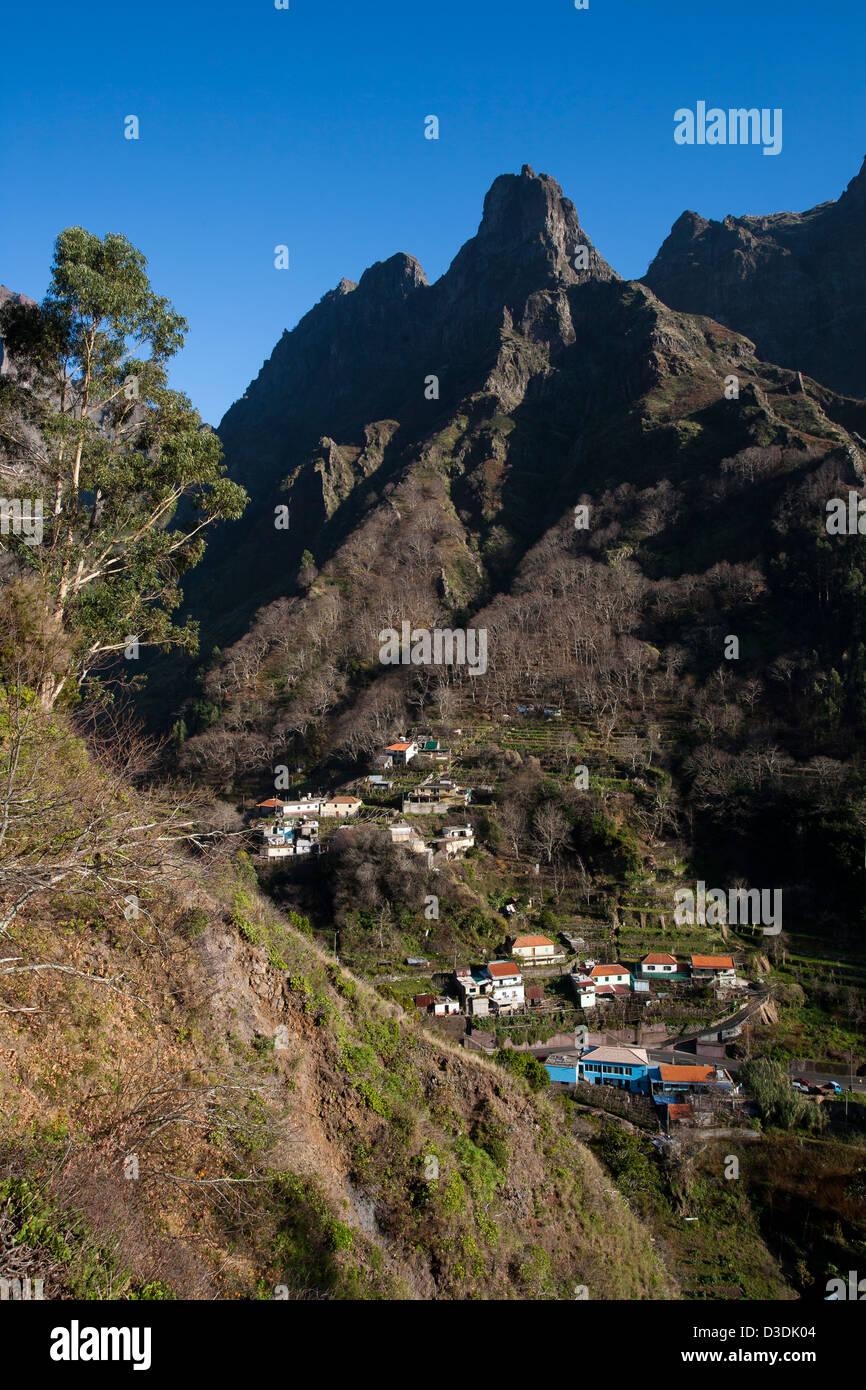 High mountains above Curral das Freiras in Madeira. - Stock Image