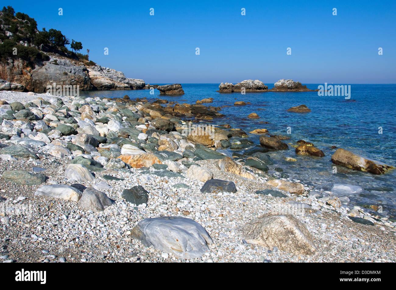 Beach of Damouchari (Pelion Peninsula, Thessaly, Greece) - Stock Image