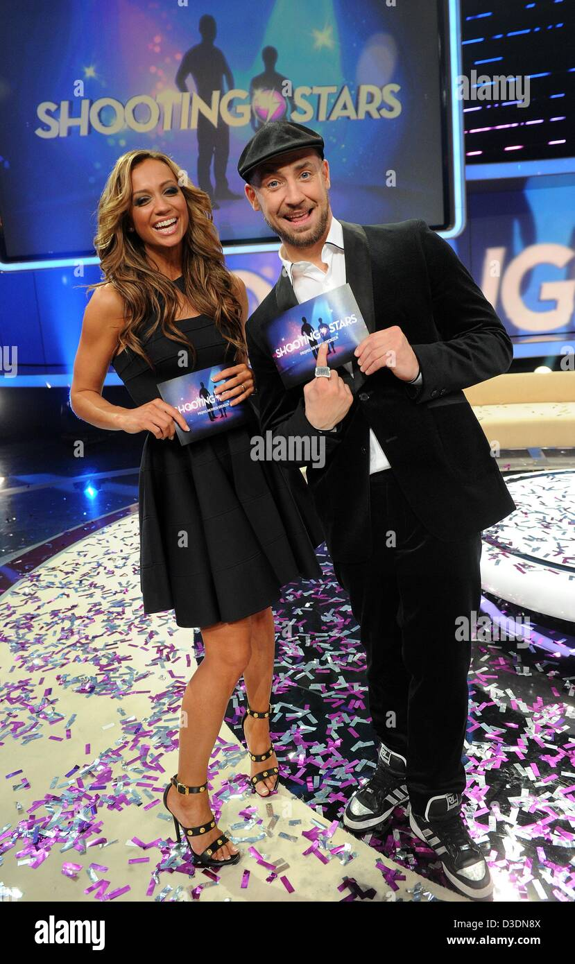 Presentor Kate Abdo (L) and politician Lars Dietrich (R) stand during the recording of the RTL television show'Shooting - Stock Image
