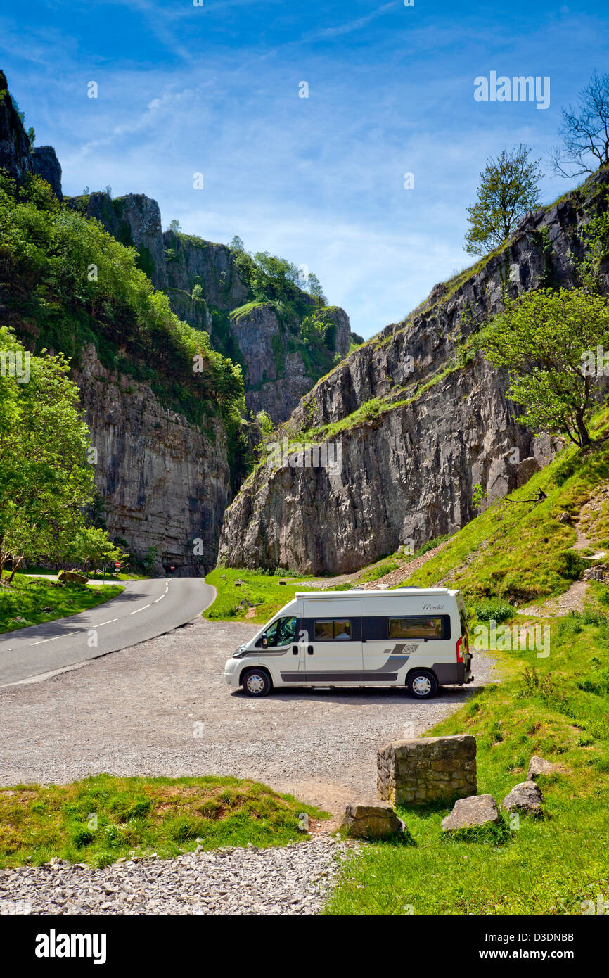 A motorhome in Cheddar Gorge, Somerset, England, UK - Stock Image