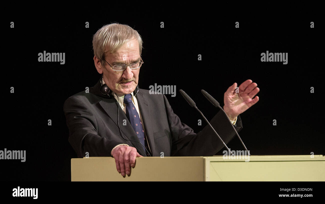 Former Soviet officer Stanislav Petrov talks before receiving the 'Dresden Prize' in the Semper Opera in - Stock Image