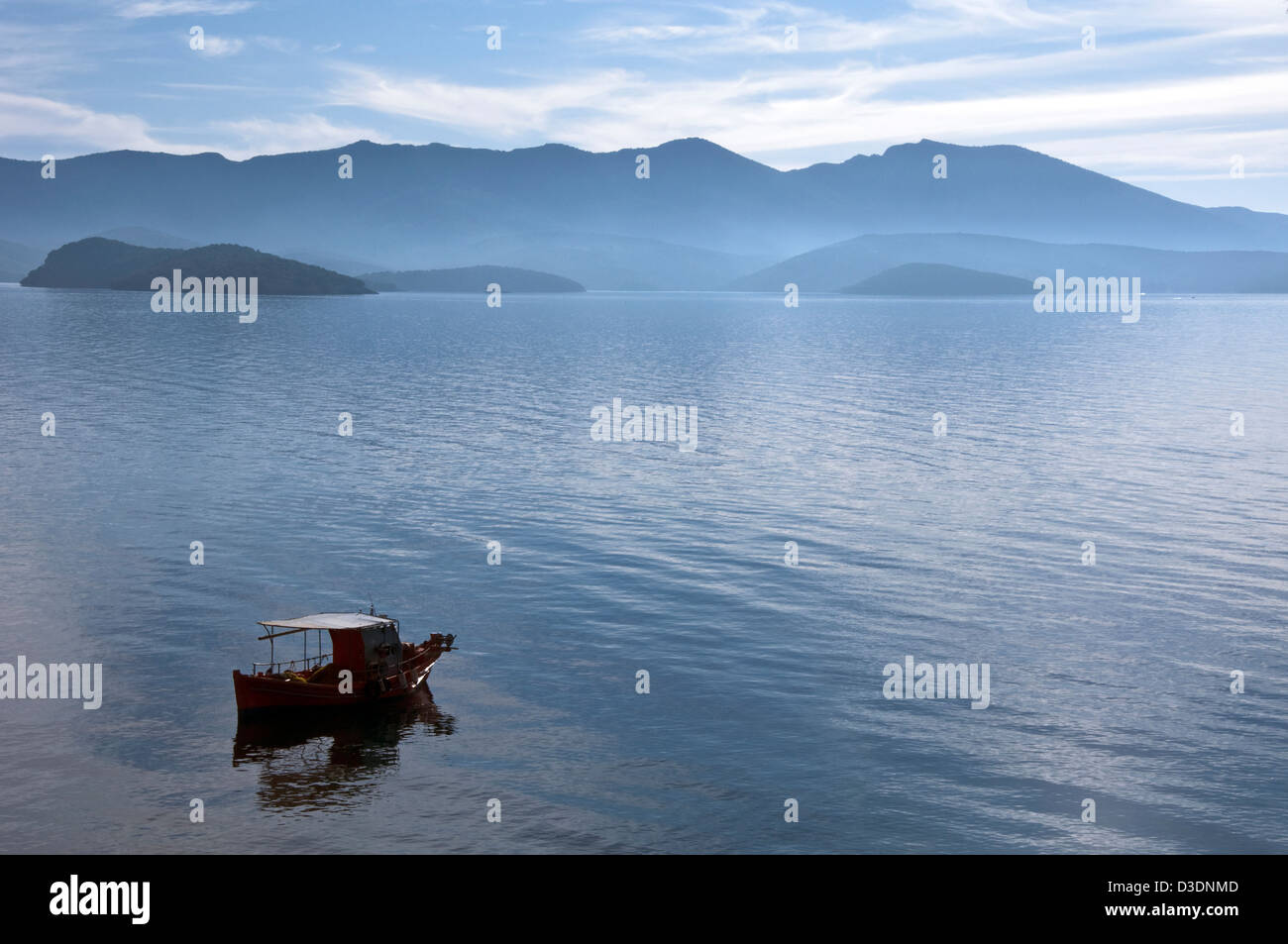 Fishing boat on the Pagasitic Gulf - Stock Image